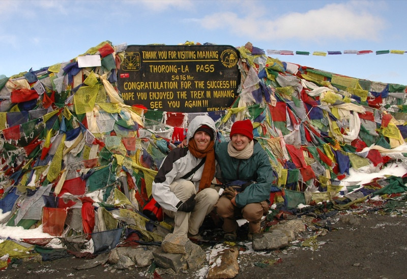 At the Top of Thorong La Pass - Annapurna Circuit, Nepal