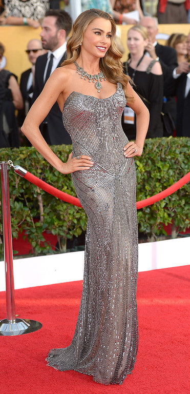. Sofia Vergara arrives at the 20th Annual Screen Actors Guild Awards  at the Shrine Auditorium in Los Angeles, California on Saturday January 18, 2014 (Photo by Michael Owen Baker / Los Angeles Daily News)