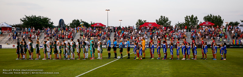 The starting lineups for the Houston Dash and Washington Spirit during the National Anthem at Maureen Hendricks Field in Boyds, MD, on July 20, 2019.