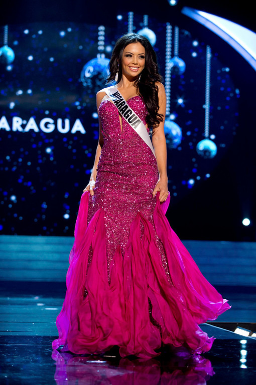 . Miss Nicaragua 2012 Farah Eslaquit Cano competes in an evening gown of her choice during the Evening Gown Competition of the 2012 Miss Universe Presentation Show in Las Vegas, Nevada, December 13, 2012. The Miss Universe 2012 pageant will be held on December 19 at the Planet Hollywood Resort and Casino in Las Vegas. REUTERS/Darren Decker/Miss Universe Organization L.P/Handout