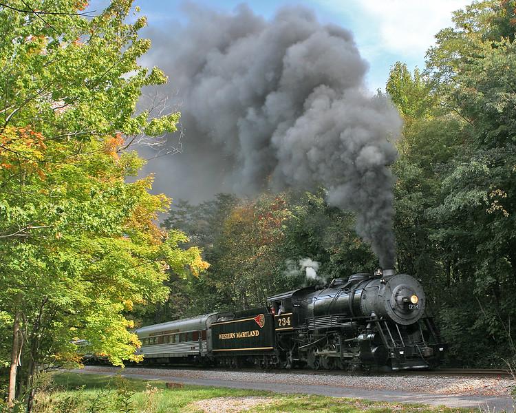 WMSR #734 approached Parkersburg Road Bridge in September Western Maryland Scenic Railroad
