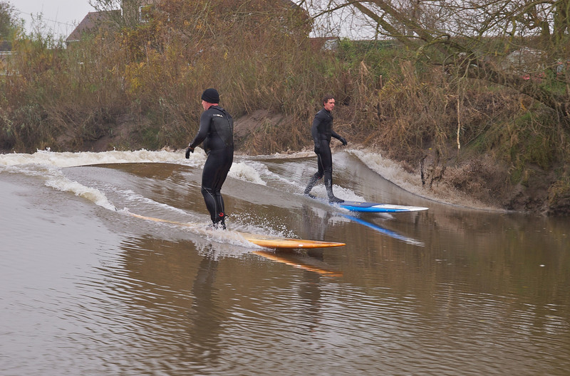 Steve riding backwards on the Severn Bore wave.