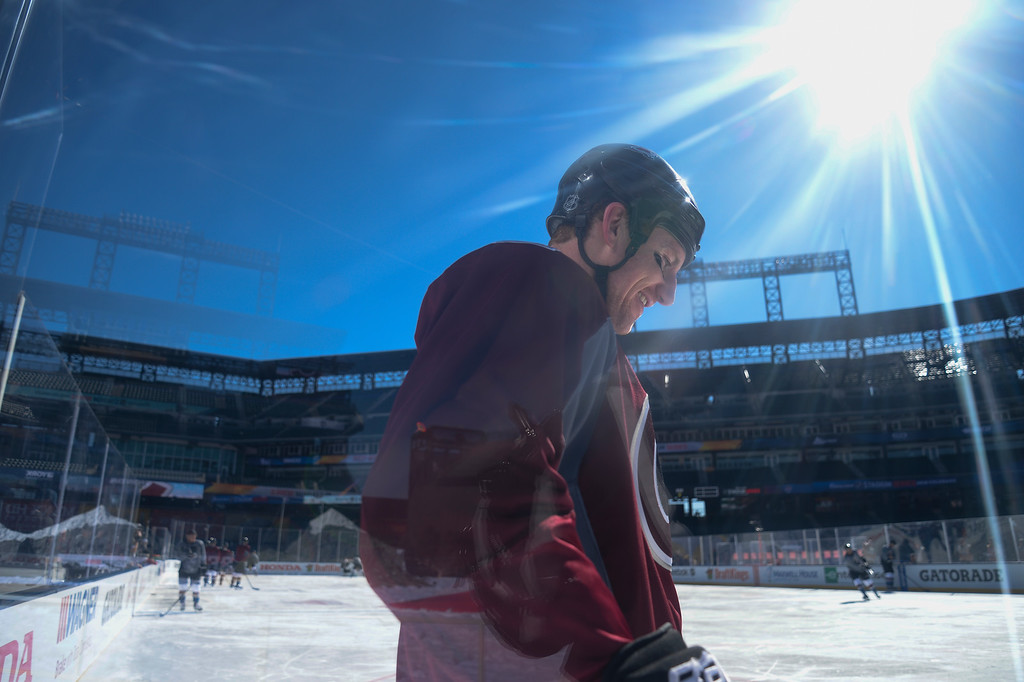 . Colorado Avalanche left wing Cody McLeod (55) smiles during practice February 26, 2016 at Coors Field. (Photo By John Leyba/The Denver Post)