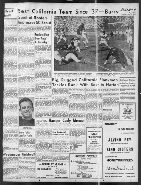 Daily Trojan, Vol. 39, No. 27, October 21, 1947