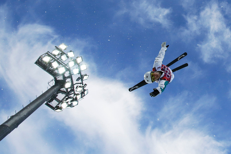 . Australia\'s Lydia Lassila jumps during women\'s freestyle skiing aerials training at the Rosa Khutor Extreme Park, at the 2014 Winter Olympics, Friday, Feb. 14, 2014, in Krasnaya Polyana, Russia. (AP Photo/Greg Baker)