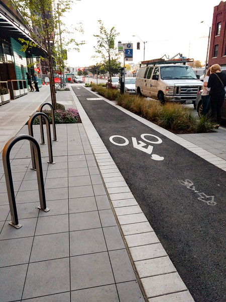 new bike infra in Seattle. Only one block long.