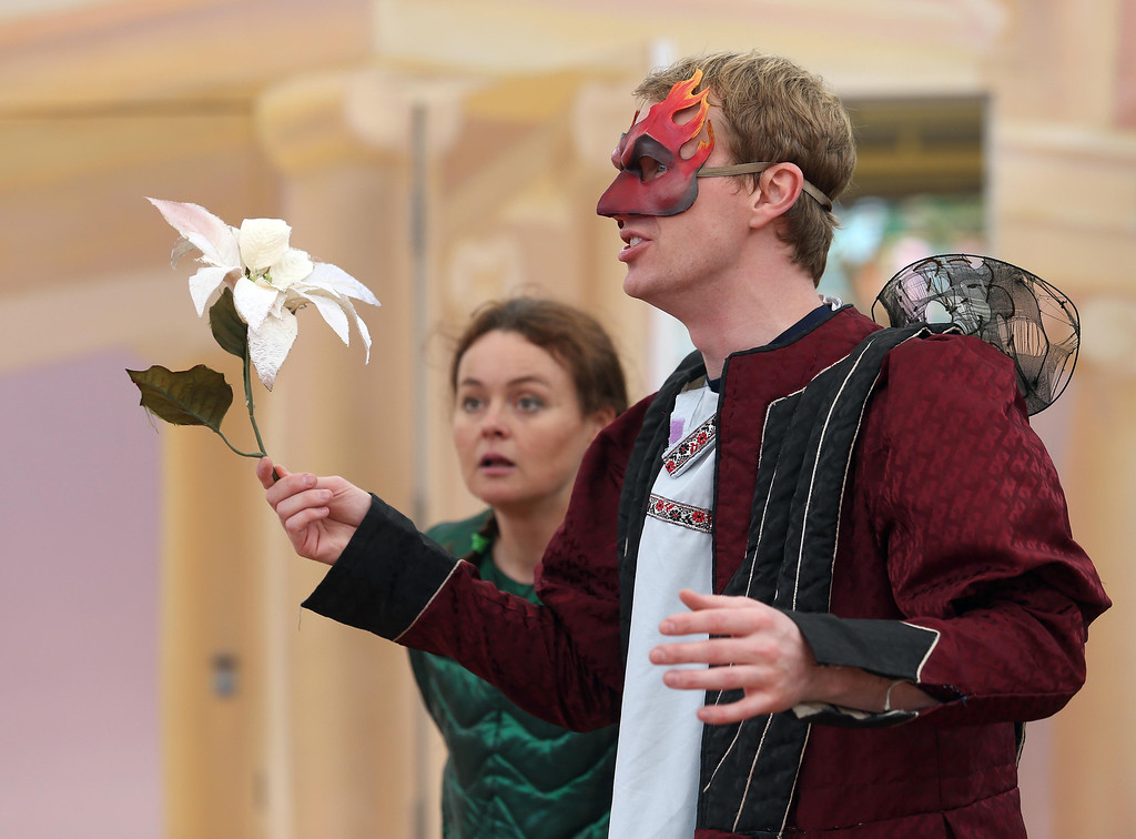 ". San Francisco Shakespeare actors Brandon Mears, right, and Sabrina De Mio perform ""A Midsummer Night\'s Dream\"" on the Aesop\'s Playhouse stage at Children\'s Fairyland in Oakland, Calif., on Friday, March 15, 2013. (Jane Tyska/Staff)"