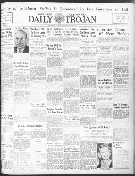 Daily Trojan, Vol. 28, No. 88, March 01, 1937