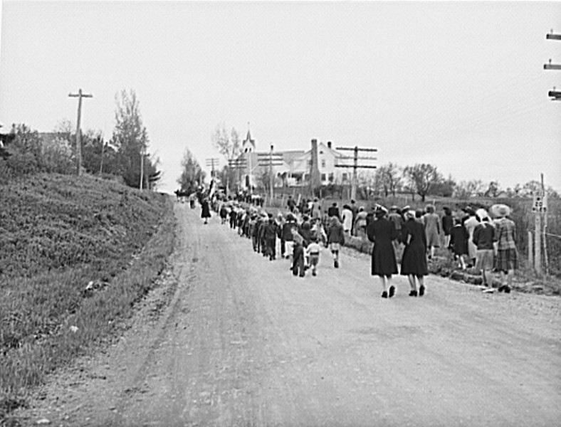 . Ashland, Aroostook County, Maine. Marching from the cemetery at the conclusion of the Memorial Day ceremonies, 1943. John Collier, Photographer.  Courtesy the Library of Congress