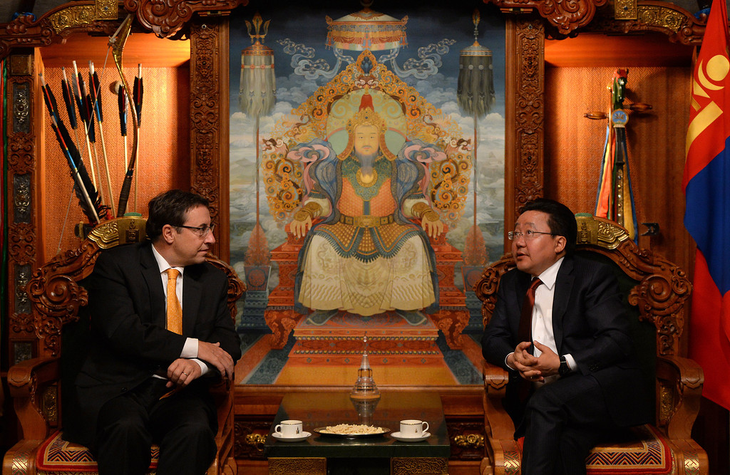 ". Mongolian President Elbegdorj Tsahia (R), who received a Champion of the Earth Award for policy leadership in 2012, talks with United Nations Environment Program Director Achim Steiner (L) inside a traditional ""ger\"" at the State Palace in Ulan Bator on June 3, 2013.  The city is gearing up for World Environment Day which falls on June 5. MARK RALSTON/AFP/Getty Images"