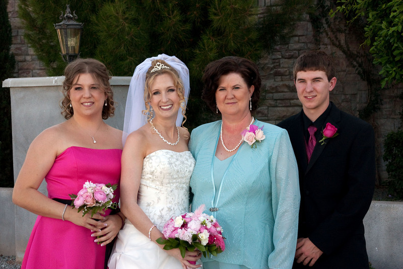 Maid of honor, bride, bride's mother, usher