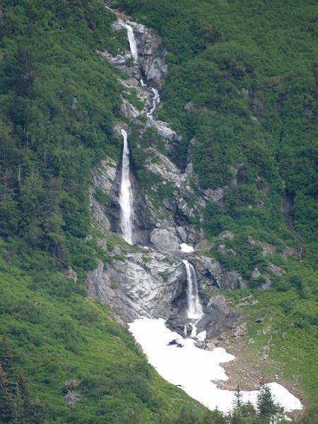 Set of step waterfalls in Taiya Inlet