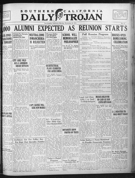Daily Trojan, Vol. 23, No. 53, November 30, 1931