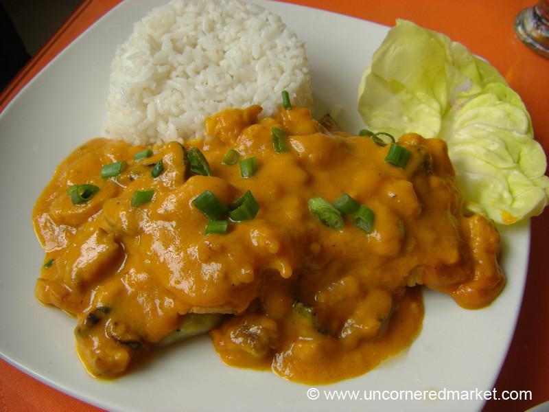 Pescado a lo Macho (Fish with Shellfish Sauce) for Lunch - Lima, Peru