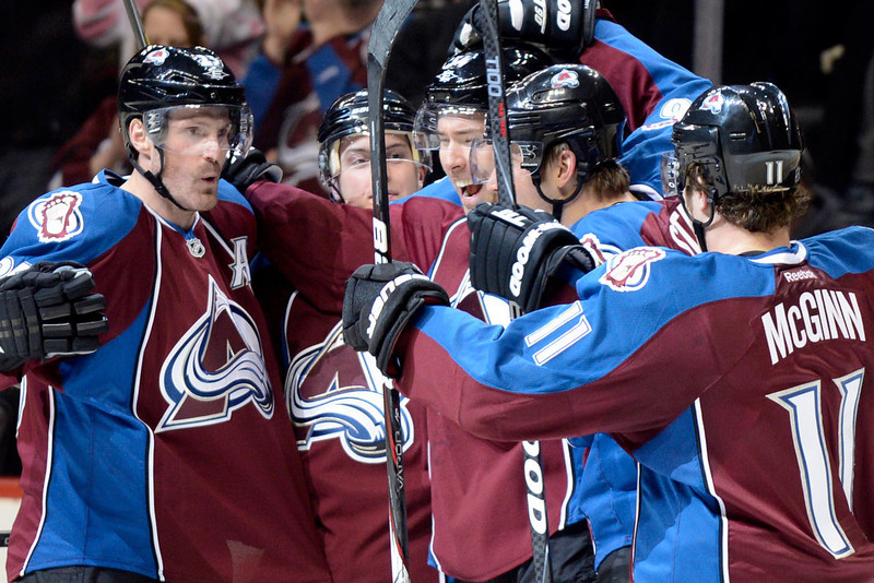 . DENVER, CO. - JANUARY 22: Colorado Avalanche right wing David Jones (54) celebrates with teammates after scoring a goal against the Los Angeles Kings during the third period. The Colorado Avalanche Los Angeles Kings at Pepsi Center January 22, 2013.  (Photo By John Leyba / The Denver Post)