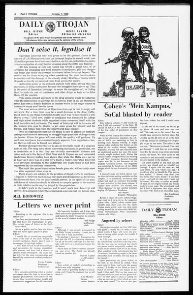 Daily Trojan, Vol. 61, No. 13, October 01, 1969