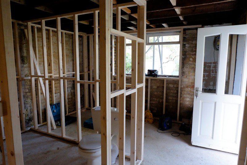 Progress with shower room frame and with box beam