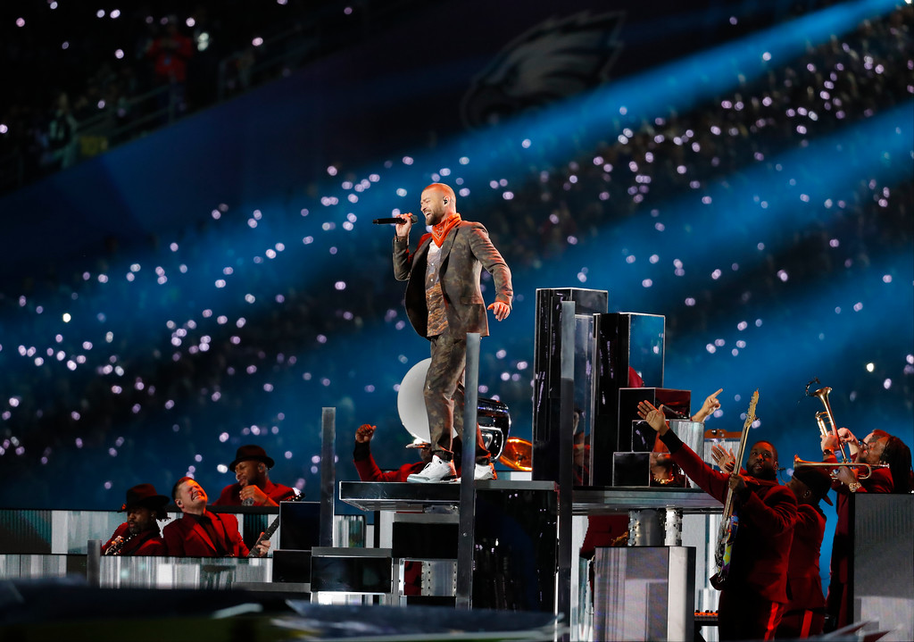 . Justin Timberlake performs during halftime at the NFL Super Bowl 52 football game between the Philadelphia Eagles and the New England Patriots,Sunday, Feb. 4, 2018, in Minneapolis. (AP Photo/Charlie Neibergall)