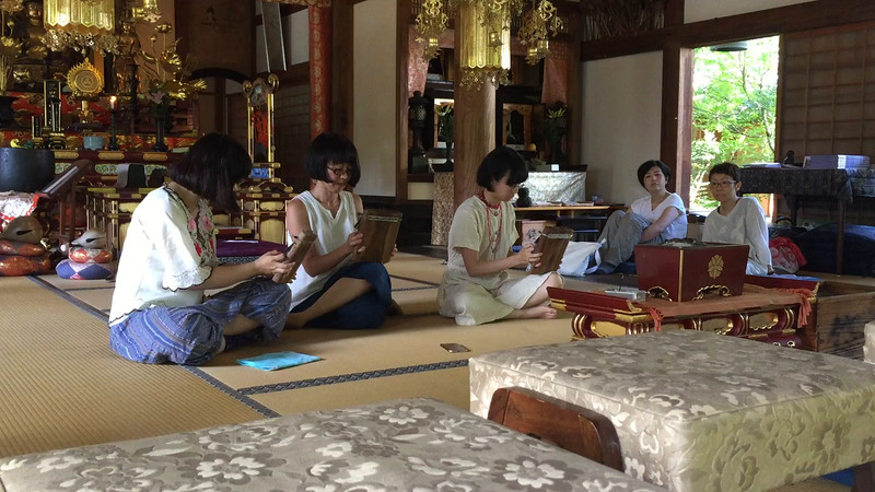 Anraku-ji temple. We really enjoyed this finger piano performance during a food and crafts fair at the temple.