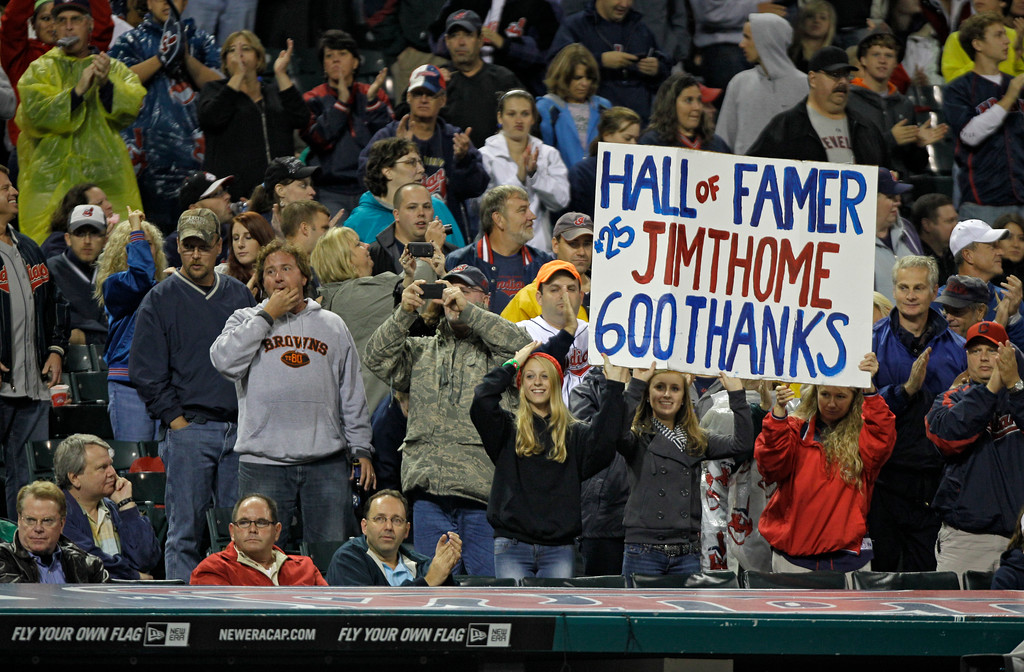 . Fans cheer for Cleveland Indians\' Jim Thome in a baseball game against the Minnesota Twins Friday, Sept. 23, 2011, in Cleveland. (AP Photo/Mark Duncan)