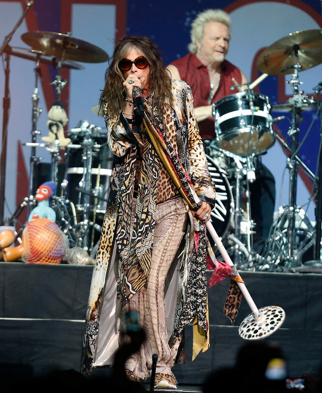 . Aerosmith lead singer Steven Tyler performs at the Boston Strong Concert: An Evening of Support and Celebration at the TD Garden on Thursday, May 30, 2013 in Boston. (Photo by Bizuayehu Tesfaye/Invision/AP)
