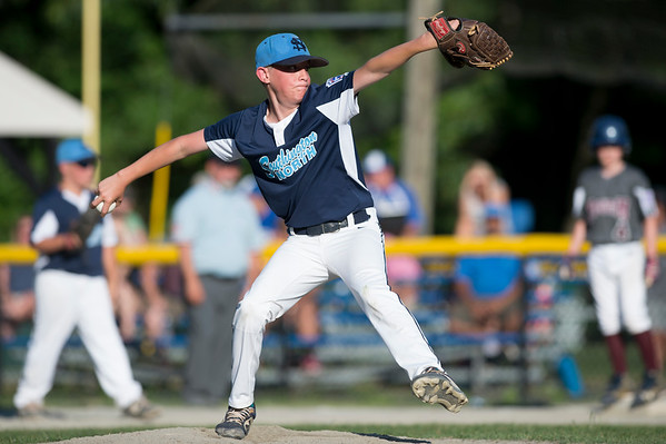 07/09/19 Wesley Bunnell | Staff Southington North vs Southington South in a Little League playoff game on Tuesday July 9, 2019 at Bill Petit Field. Nathan Chiulli (35).