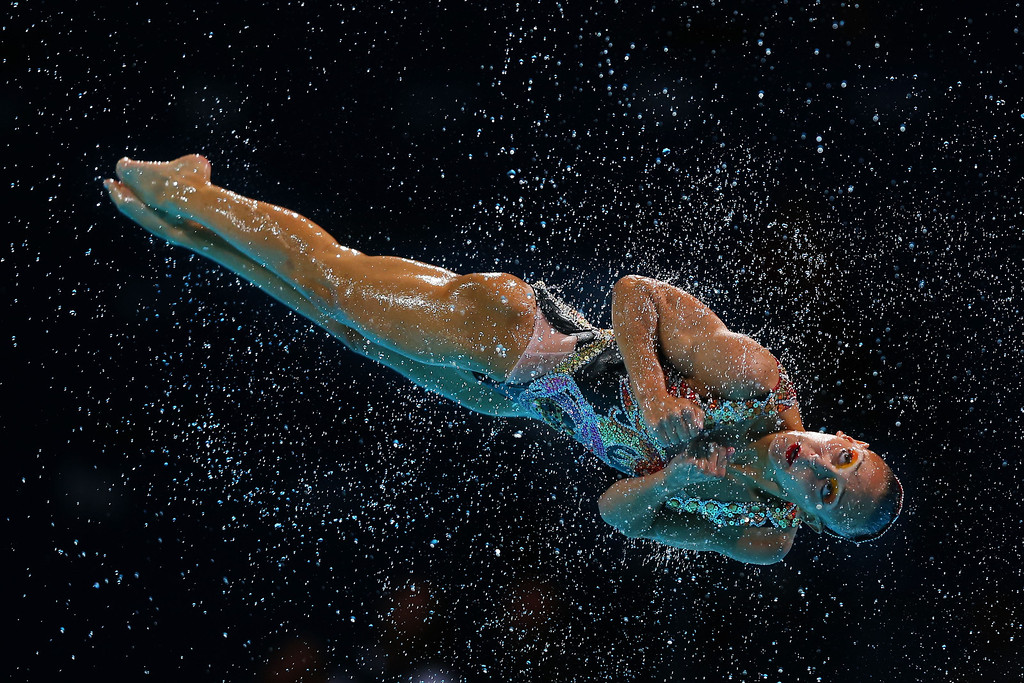 . A Canadian swimmer competes in the Synchronized Swimming Duet Technical preliminary round on day two of the 15th FINA World Championships at Palau Sant Jordi on July 21, 2013 in Barcelona, Spain.  (Photo by Clive Rose/Getty Images)