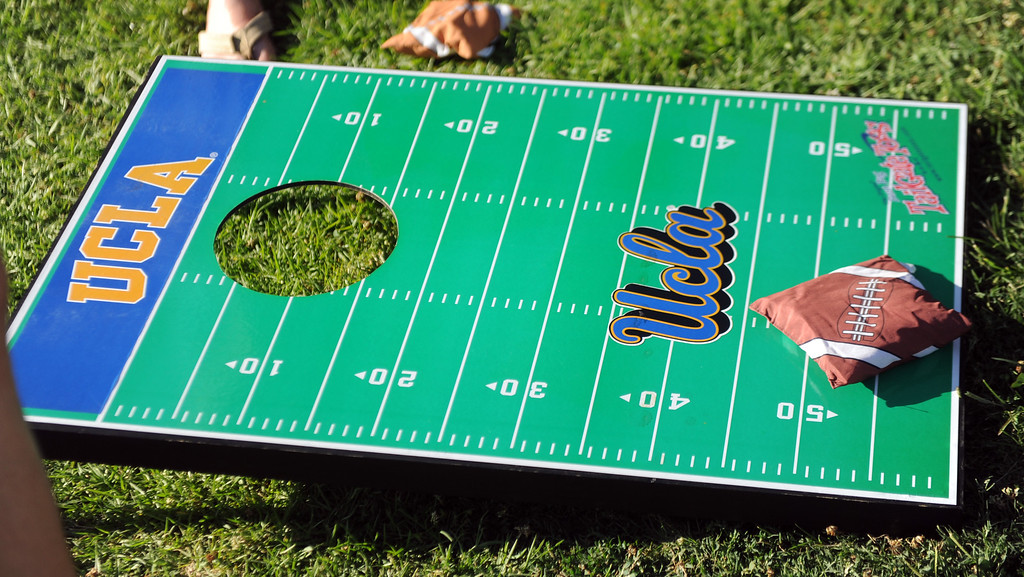 . One of many UCLA toss games prior to a college football game between Nevada and UCLA in the Rose Bowl on Saturday, Aug. 31, 2013 in Pasadena, Calif.    (Keith Birmingham Pasadena Star-News)