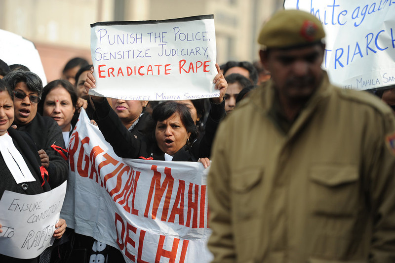 . Indian lawyers shout slogans as they hold placards during a protest at the entrance to Saket District Court in New Delhi on January 3, 2013. A gang of men accused of repeatedly raping a 23-year-old student on a moving bus in New Delhi in a deadly crime that repulsed the nation are to appear in court for the first time. Police are to formally charge five suspects with rape, kidnapping and murder after the woman died at the weekend from the horrific injuries inflicted on her during an ordeal that has galvanised disgust over rising sex crimes in India  SAJJAD HUSSAIN/AFP/Getty Images