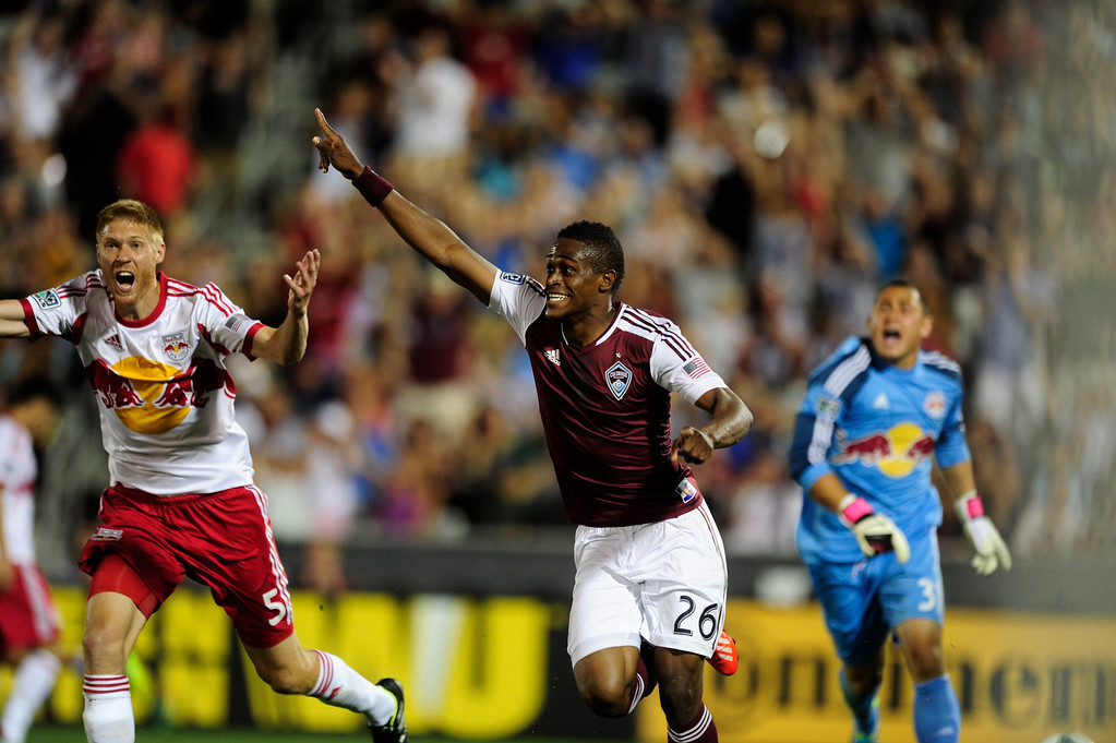 . DENVER - JULY 4: Deshorn Brown, #26 of the Colorado Rapids, celebrates after scoring a goal during the second half of a MLS soccer match against the New York Red Bulls on July 4, 2013 at Dick\'s Sporting Goods Park. The Rapids defeated the Red Bulls 2-0. (Photo By Grant Hindsley / The Denver Post)