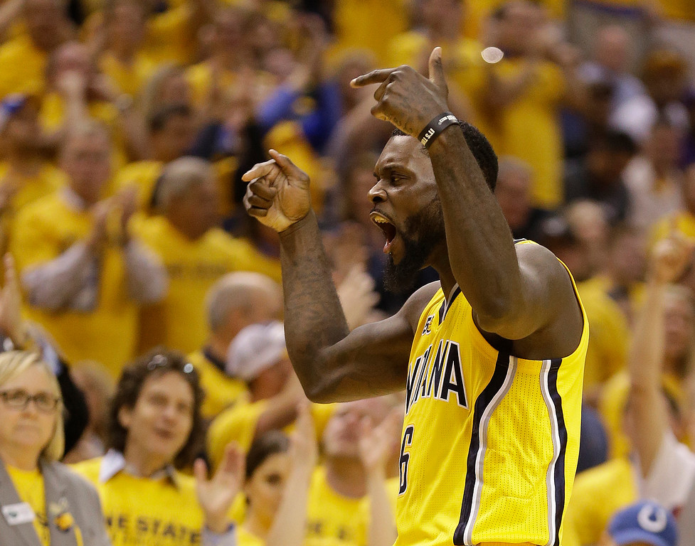 . Indiana Pacers\' Lance Stephenson reacts during the second half in Game 3 of the team\'s first-round NBA basketball playoff series against the Cleveland Cavaliers, Thursday, April 20, 2017, in Indianapolis. (AP Photo/Michael Conroy)