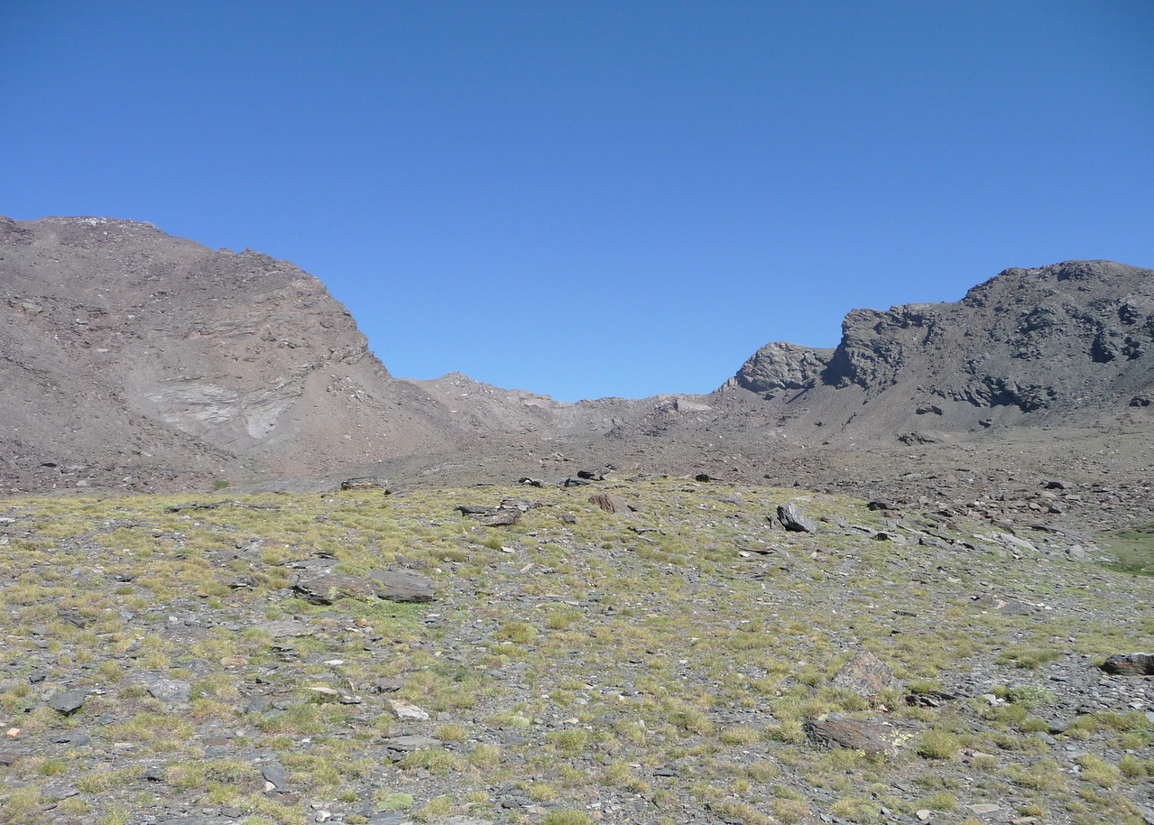 Our view from Las Siete Lagunas with Pico Mulhacen 3479m  to the left and Pico La Alcazaba 3364m to the right.