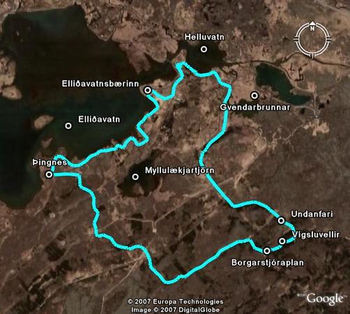 Gönguleiðin séð í Google Earth
