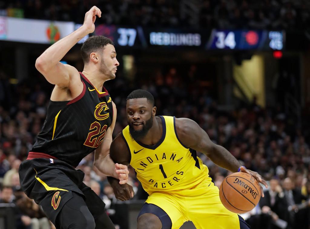 . Indiana Pacers\' Lance Stephenson (1) drives against Cleveland Cavaliers\' Larry Nance Jr. (22) in the second half of Game 1 of an NBA basketball first-round playoff series, Sunday, April 15, 2018, in Cleveland. (AP Photo/Tony Dejak)