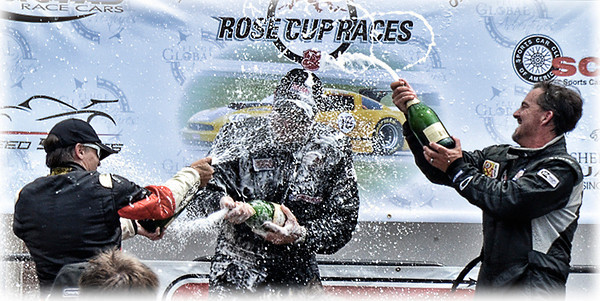 0618 emotions  The top three drivers were pretty happy after their finish at the Rose Cup Races.