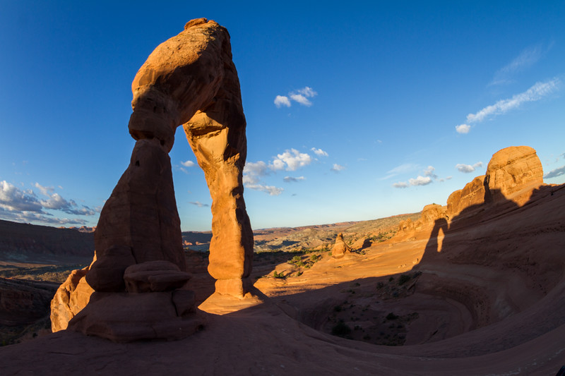Delicate Arch in Utah's Arches National Park as seen at sunrise with no people visibile