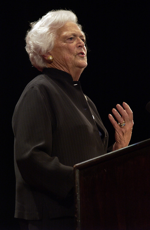 . Barbara Bush speaks during the W Stands for Women rally in the Waldorf Astoria Hotel in New York on Monday, Aug. 30, 2004. (AP Photo/Dean Cox)