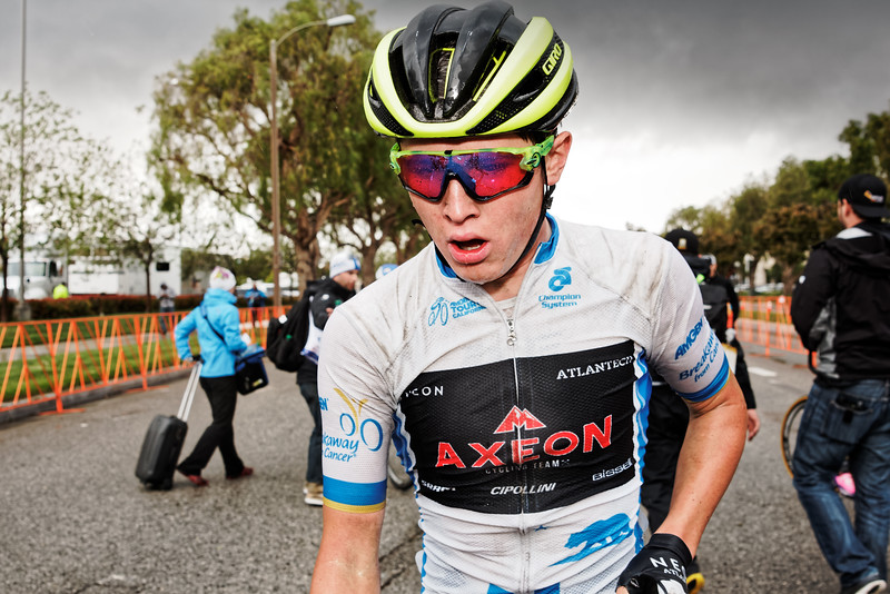 Axeon Cycling Team's Greg Daniel catching his breath after the cold, wet race. Photo: Davey Wilson