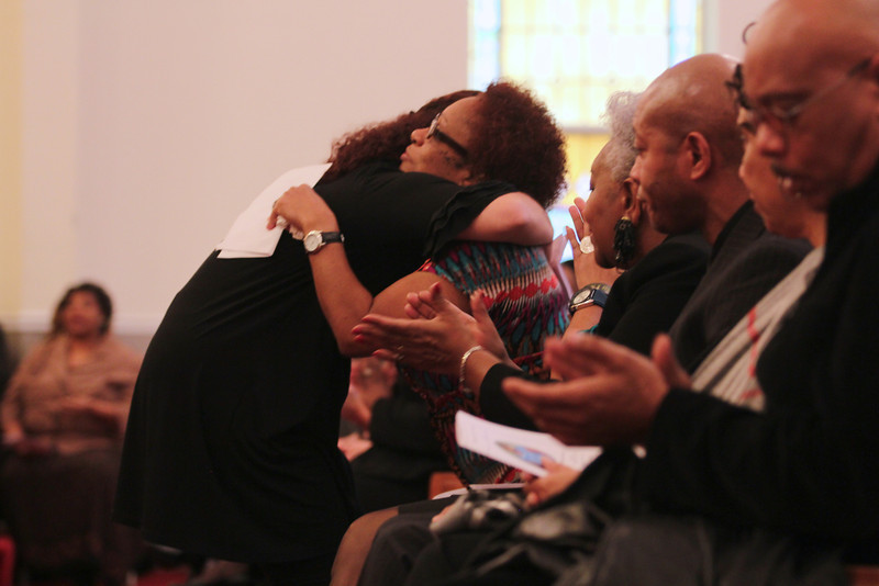 January 21, 2012 Celebration of the life of Ariane Patterson at New Bethel Ame Zion Church of Forest City, NC. Roxana Bocur hugs Ariane's mom, Connie.