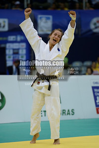 2013 Rio De Janeiro Worlds 130827A0973: Majlinda Kelmendi of Kosovo leaps with joy after winning the u52kgs final by ippon at the Rio World....