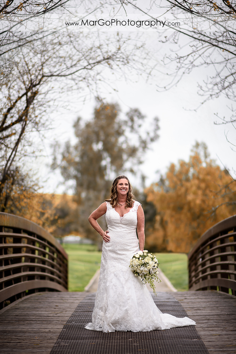 bride on the bridge at Las Positas Golf Course in Livermore