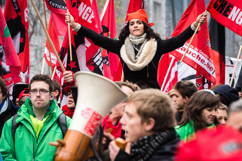 . Workers protest during a national trade union demonstration in Brussels, Thursday Nov. 6, 2014. (AP Photo/Geert Vanden Wijngaert)