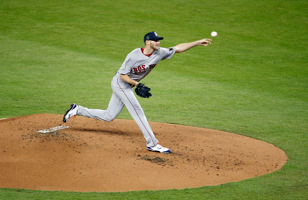 . American League\'s Boston Red Sox pitcher Chris Sale (41), throws a pitch, during the first inning at the MLB baseball All-Star Game, Tuesday, July 11, 2017, in Miami. (AP Photo/Wilfredo Lee)