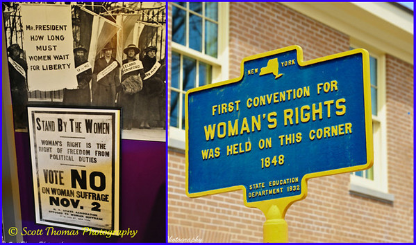 Signs found at the Women's Rights National Historical Park in Seneca Falls, New York.