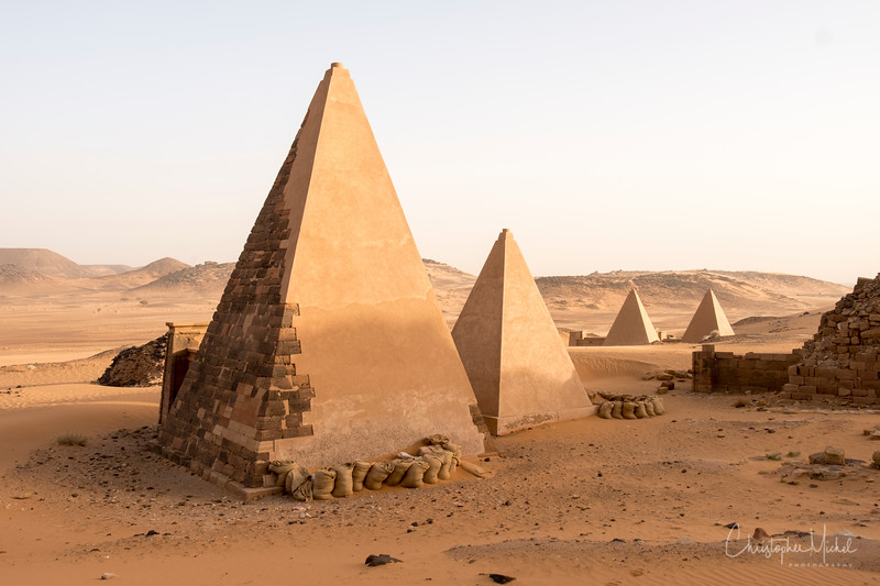 Nubian pyramids differ significantly from Egyptian pyramids.  They are smaller (20-90 ft)  with much steeper sides (70° angles) - and most were build two thousand years after the great pyramids of Giza.