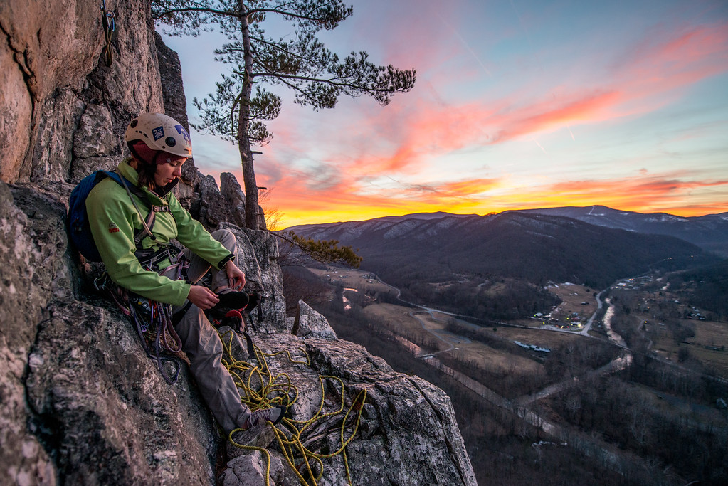 Climbing; Seneca; Rocks; West; Virginia; photo; Gabe; DeWitt; February; 2015; 171; Favorite things; Gabe DeWitt; People; Places; Seneca Rocks; Tara Smith; West Virginia; appalachia; climbing; friends; mountains; rocks; space; sun; sunset