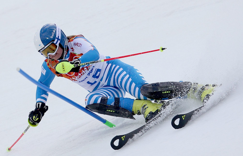 . Tanja Poutiainen of Finland in action during the first run of the Women\'s Slalom race at the Rosa Khutor Alpine Center during the Sochi 2014 Olympic Games, Krasnaya Polyana, Russia, 21 February 2014.  EPA/KARL-JOSEF HILDENBRAND