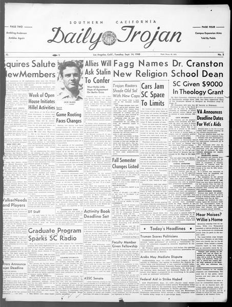 Daily Trojan, Vol. 40, No. 2, September 14, 1948