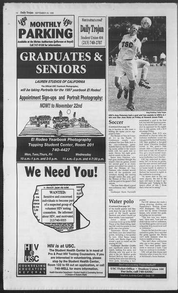 Daily Trojan, Vol. 129, No. 22, September 30, 1996