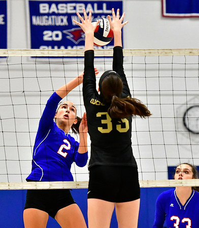 9/27/2018 Mike Orazzi | Staff St. Paul Volleyball's Greta Panke (2) and Woodland's Elayna Beutel (35) Thursday night in Bristol.